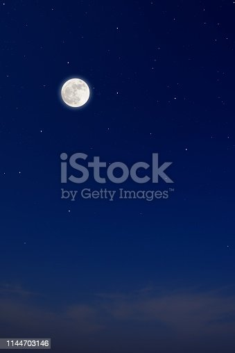 Full moon with shining stars with copy space.