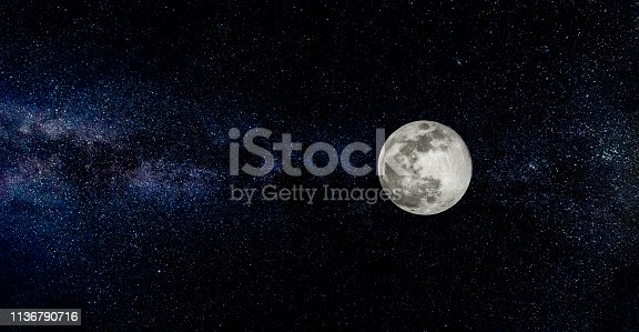 Scene with full moon and stars in the background.