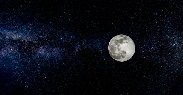 full moon with stars in the background - star space stock pictures, royalty-free photos & images