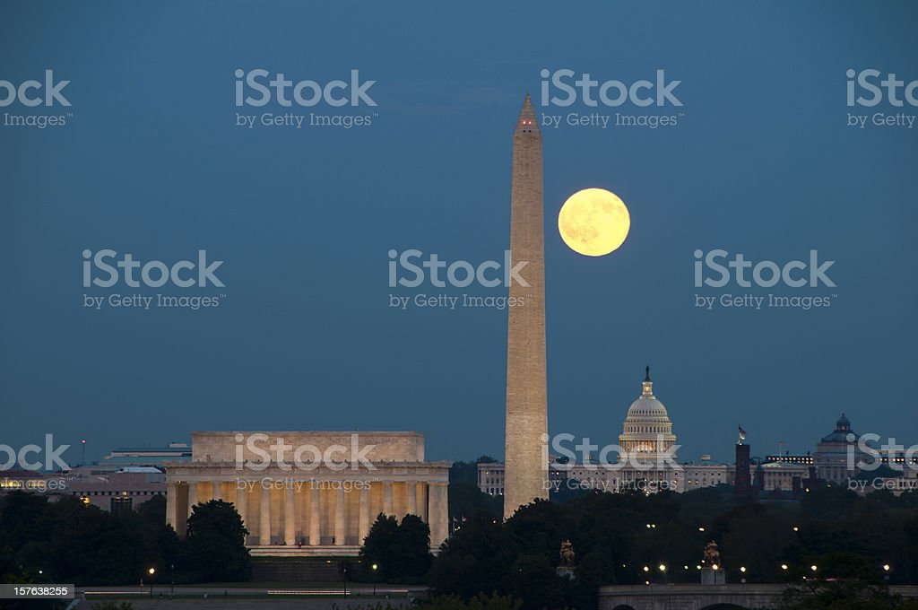Full Moon with Washington DC Landmarks royalty-free stock photo