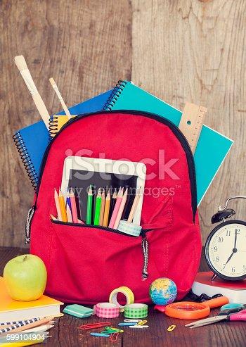 istock Full of bag school supplies 599104904