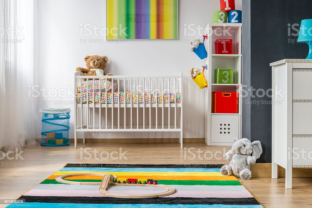 Full of colors and spacious baby room photo libre de droits