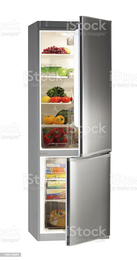 Full of fresh food refrigerator. stock photo