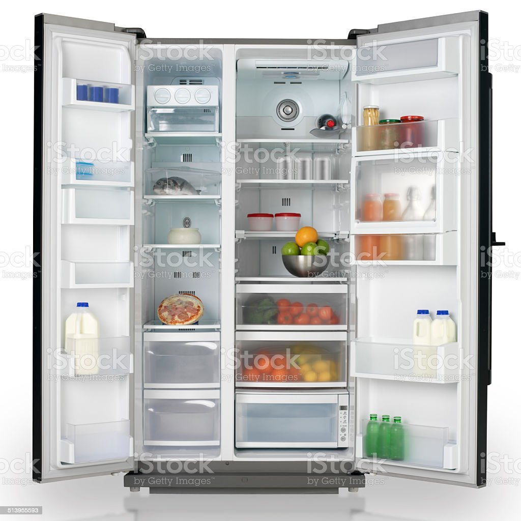 Full of fresh food refrigerator stock photo