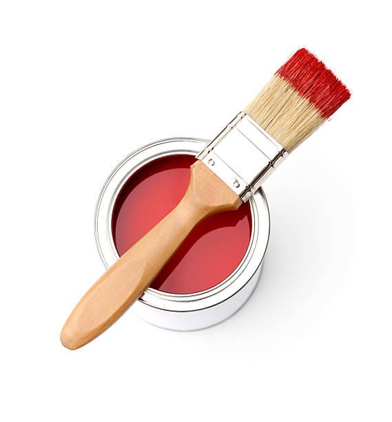 viele rote farbe, pinsel tin - glasmalerei stock-fotos und bilder
