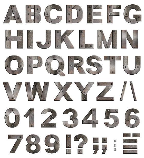 voll alt metall-alphabet buchstaben, ziffern und satzzeichen - komma stock-fotos und bilder