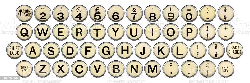 full old typewriter keyboard stock photo