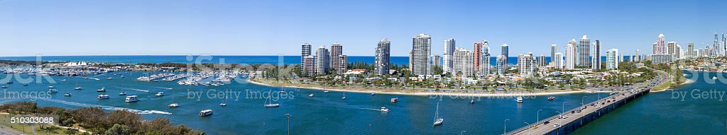 Full panorama of Surfers Paradise, Australia stock photo