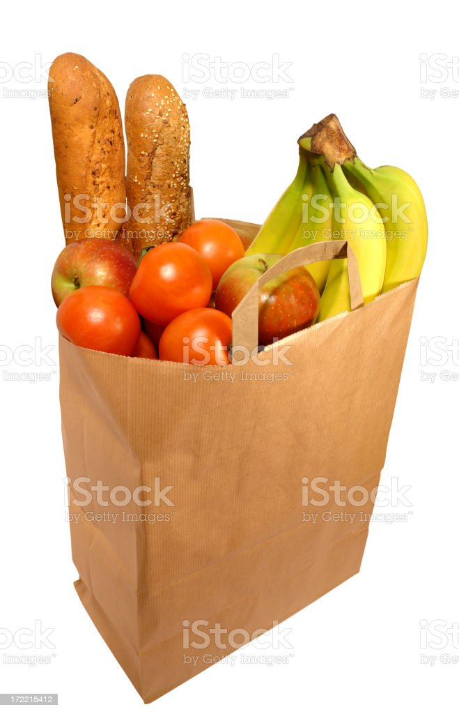 Full Paper Bag with Food Products royalty-free stock photo