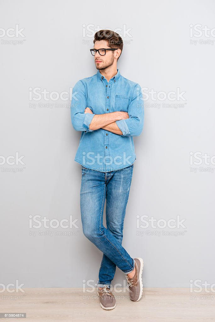 Full photo of confident man in glasses with crossed hands stock photo