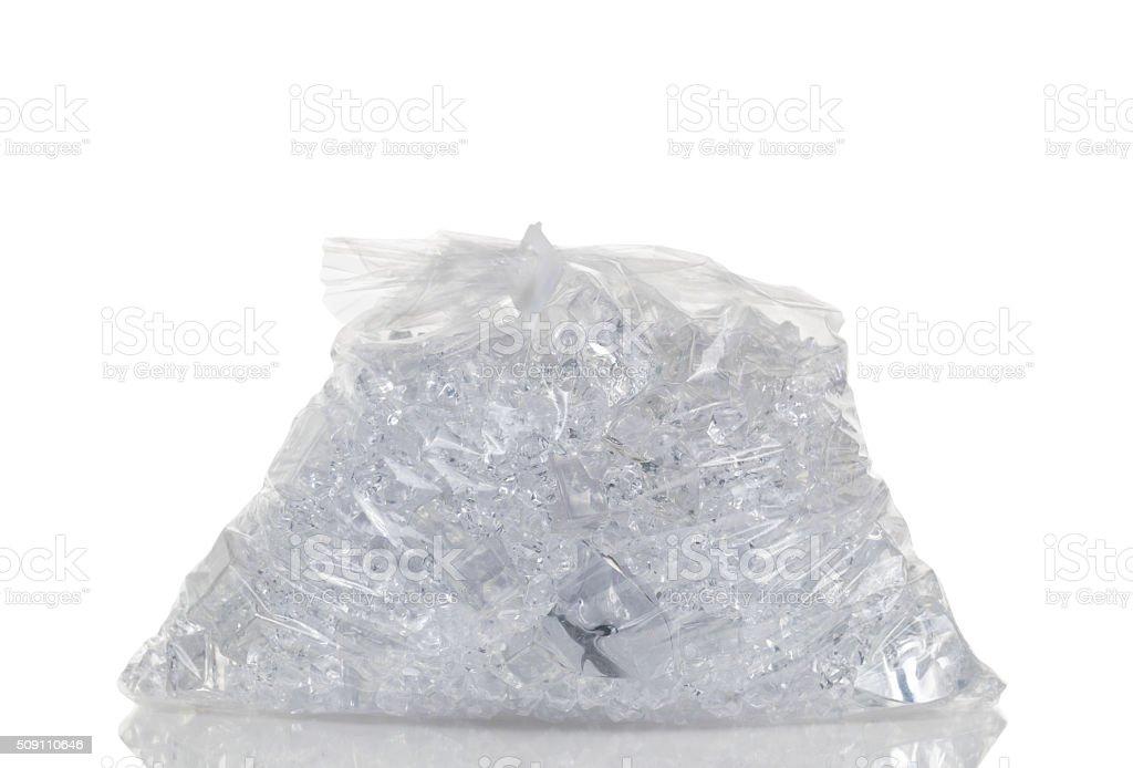 Full plastic bag of crushed ice stock photo