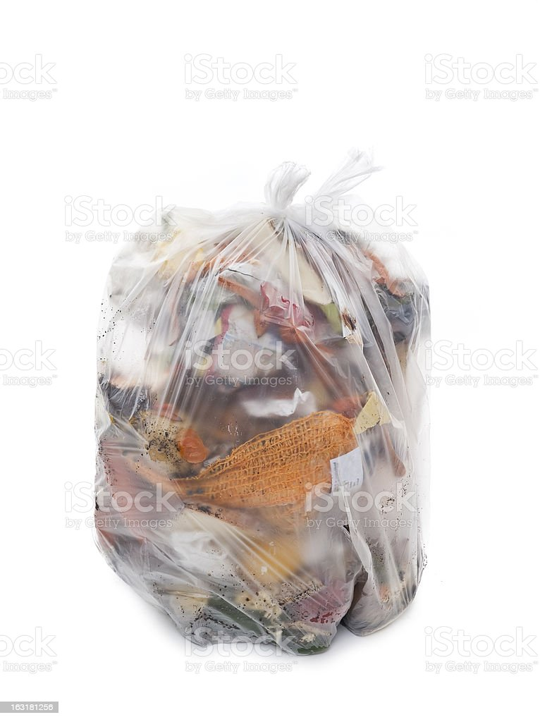Full plastic garbage bag on white background stock photo