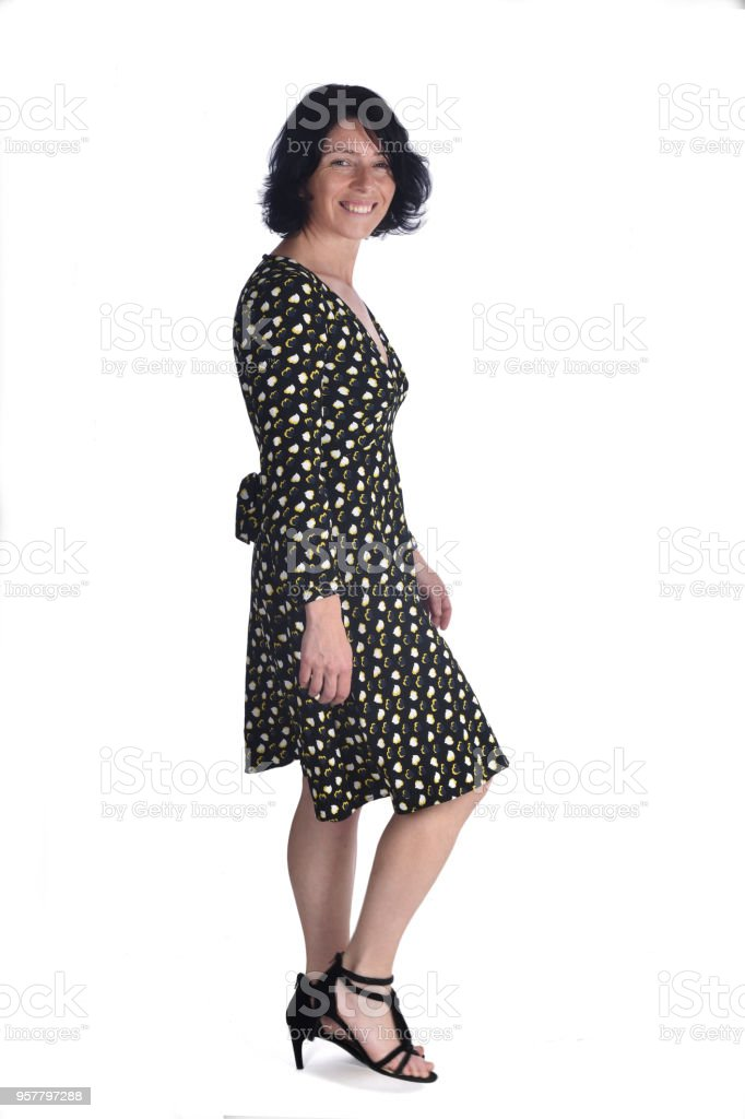 full portrait of a woman on white stock photo