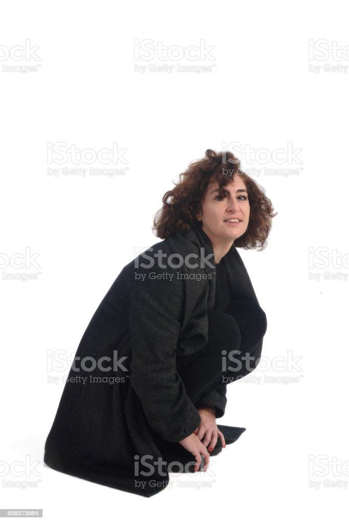 full portrait woman on white background stock photo