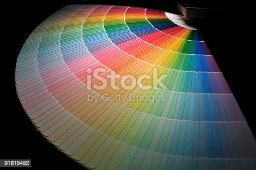 istock Full Rainbow of Paint Color Chart Fan Deck 91815452
