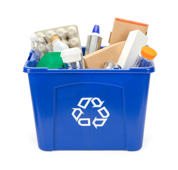 full recycle bin - recycling bin stock photos and pictures