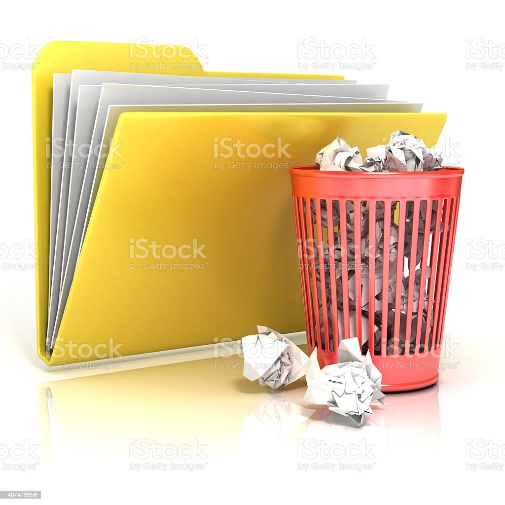 Full red recycle bin folder icon, 3D render stock photo