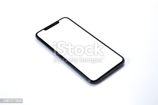 New shape of mobile phone on white screen