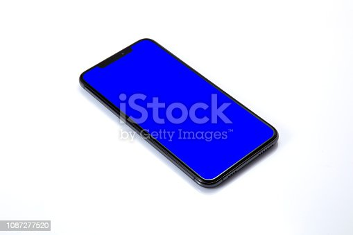 New shape of mobile phone on blue screen