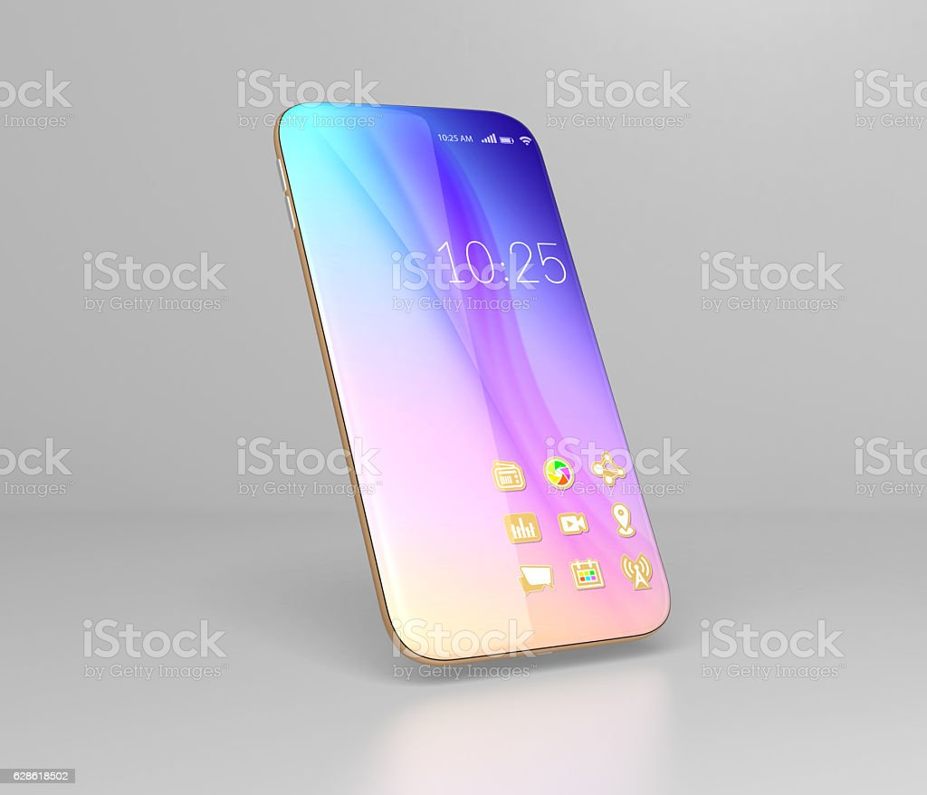 Full screen smartphones isolated on gray background stock photo