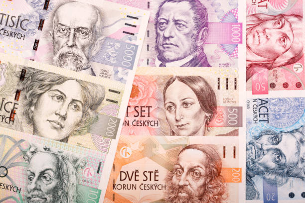 Full set of Czech money, a background Full set of Czech money, a business background czech culture stock pictures, royalty-free photos & images