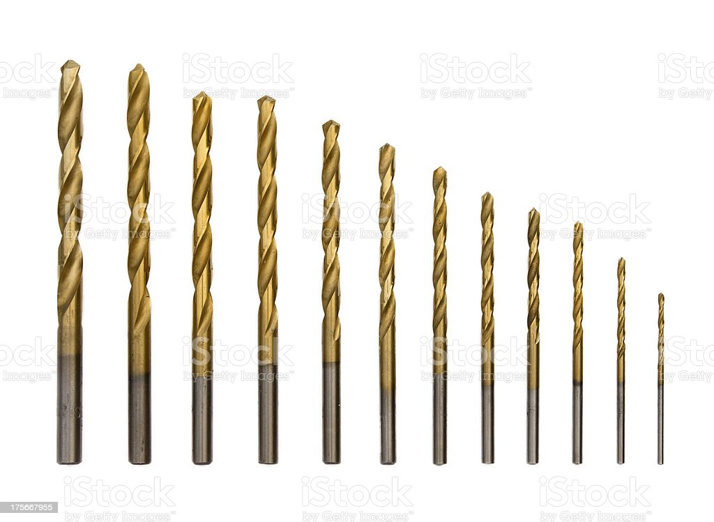 Full set of drilling bits royalty-free stock photo