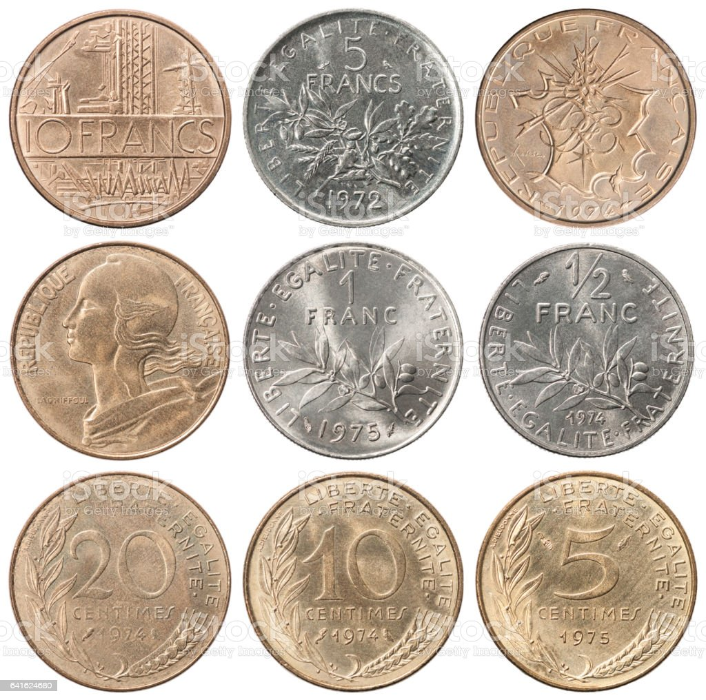 full set of French Francs stock photo