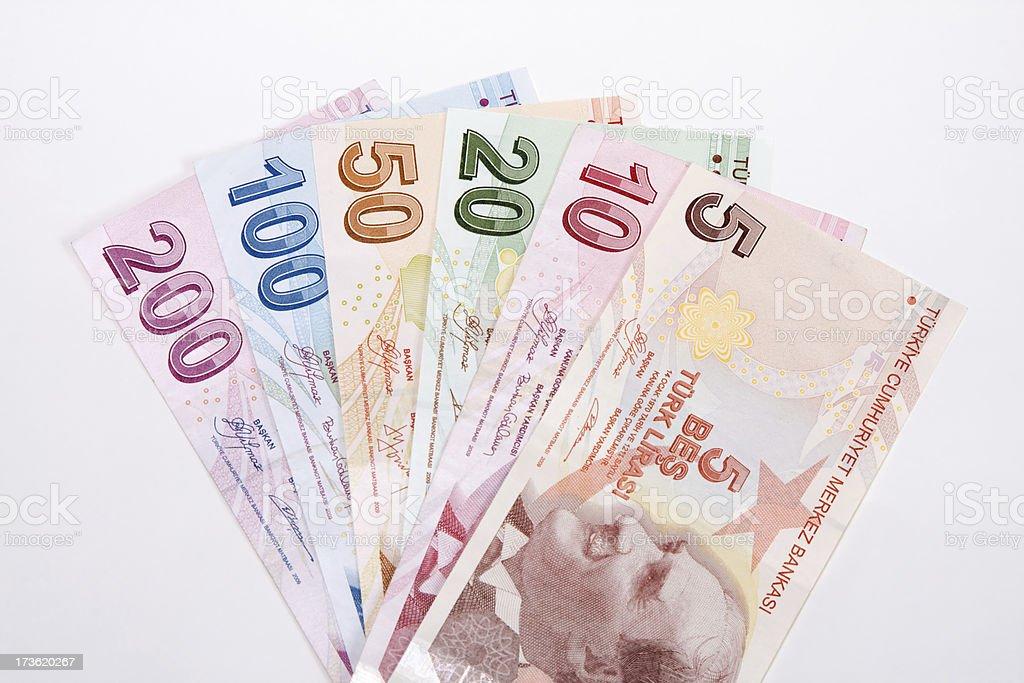 Full set of Turkish Liras stock photo
