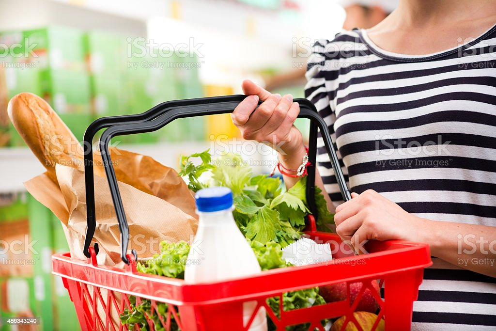Full shopping basket stock photo