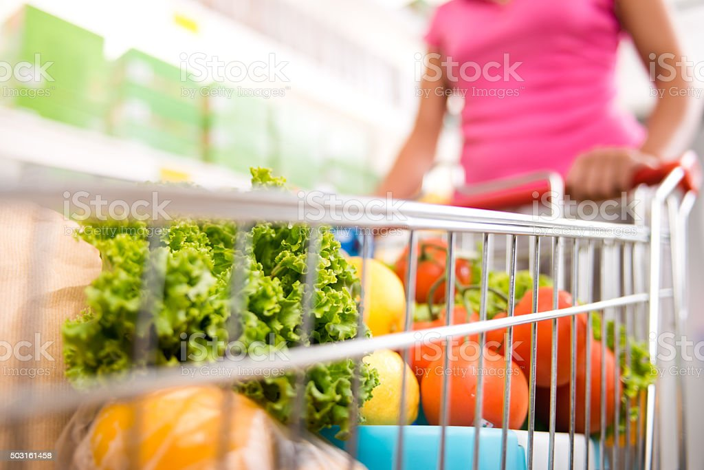 Full shopping cart stock photo