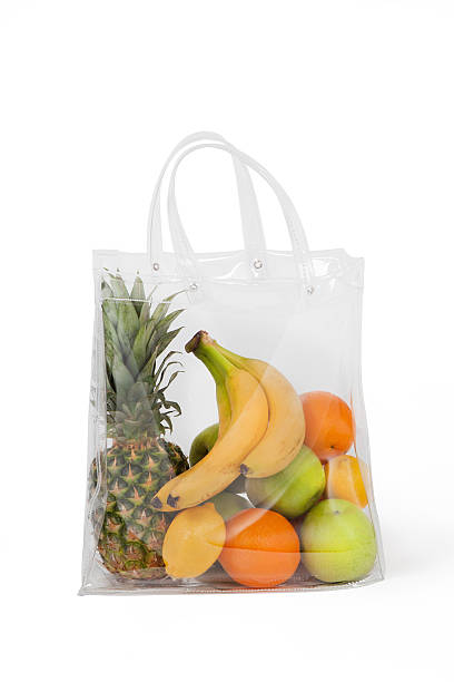 Full Shopping Plastic Bag With Fruits stock photo