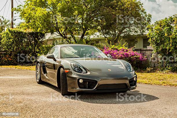 Full Shot Porsche Cayman In Residential Area Stock Photo - Download Image Now