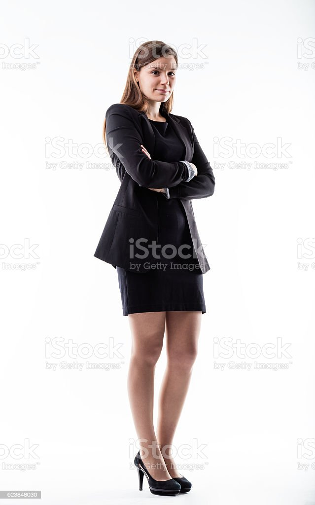 full shot portrait of a business woman stock photo