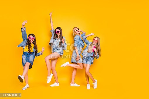 istock Full size body length photo of four carefree delightful excited funny funky positive having nice weekend ladies isolated vivid background 1170716010