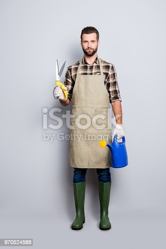istock Full size body portrait of trendy stylish gardener with stubble, hairstyle, looking at camera, isolated over grey background, having scissors for plants and watering can in arms 970524588