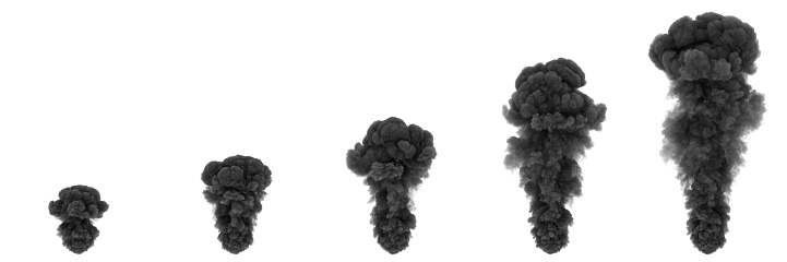 Gray fumes in several stages. Highly detailed smoke elements.