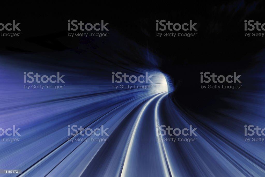 full speed train tunnel royalty-free stock photo