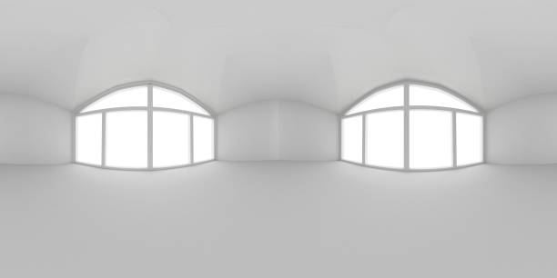 Full spherical 360 by 180 degrees seamless panorama in equirectangular equidistant projection, panorama in interior empty white room 3d render stock photo