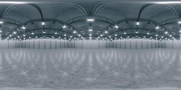 panorama hdri esférico completo 360 grados de espacio de exposición vacío. telón de fondo para exposiciones y eventos. suelo de baldosa. maqueta de marketing. ilustración de renderización 3d - 360 fotografías e imágenes de stock