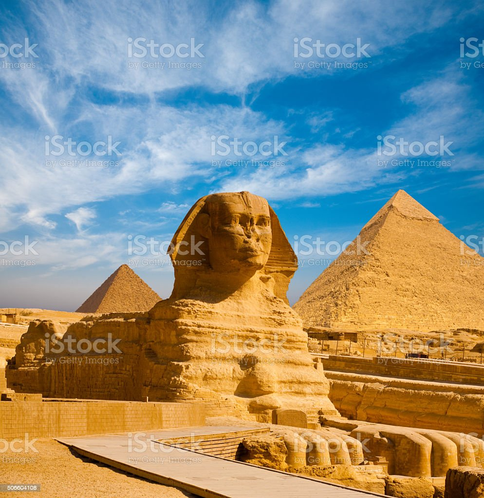 Full Sphinx Profile Pyramids Walkway Giza stock photo