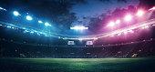 istock Full stadium and neoned colorful flashlights background 1276444914