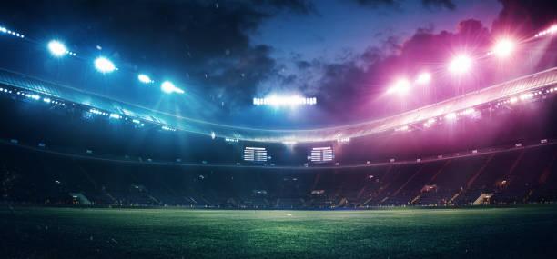 full stadion och neoned färgglada ficklampor bakgrund - fotboll bildbanksfoton och bilder