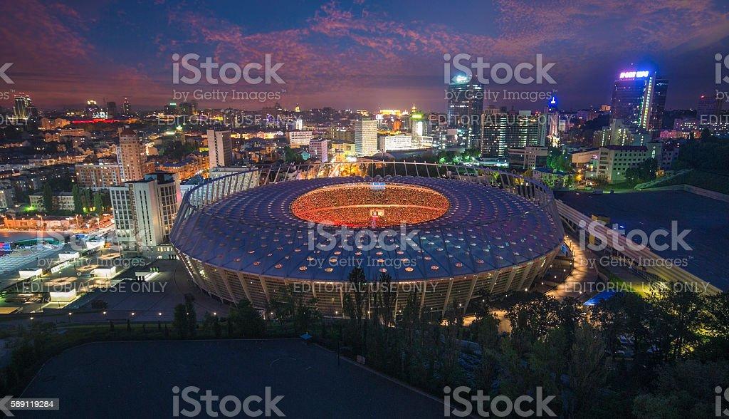 Full stadium fans on concert of Okean Elzy on JUNE stock photo