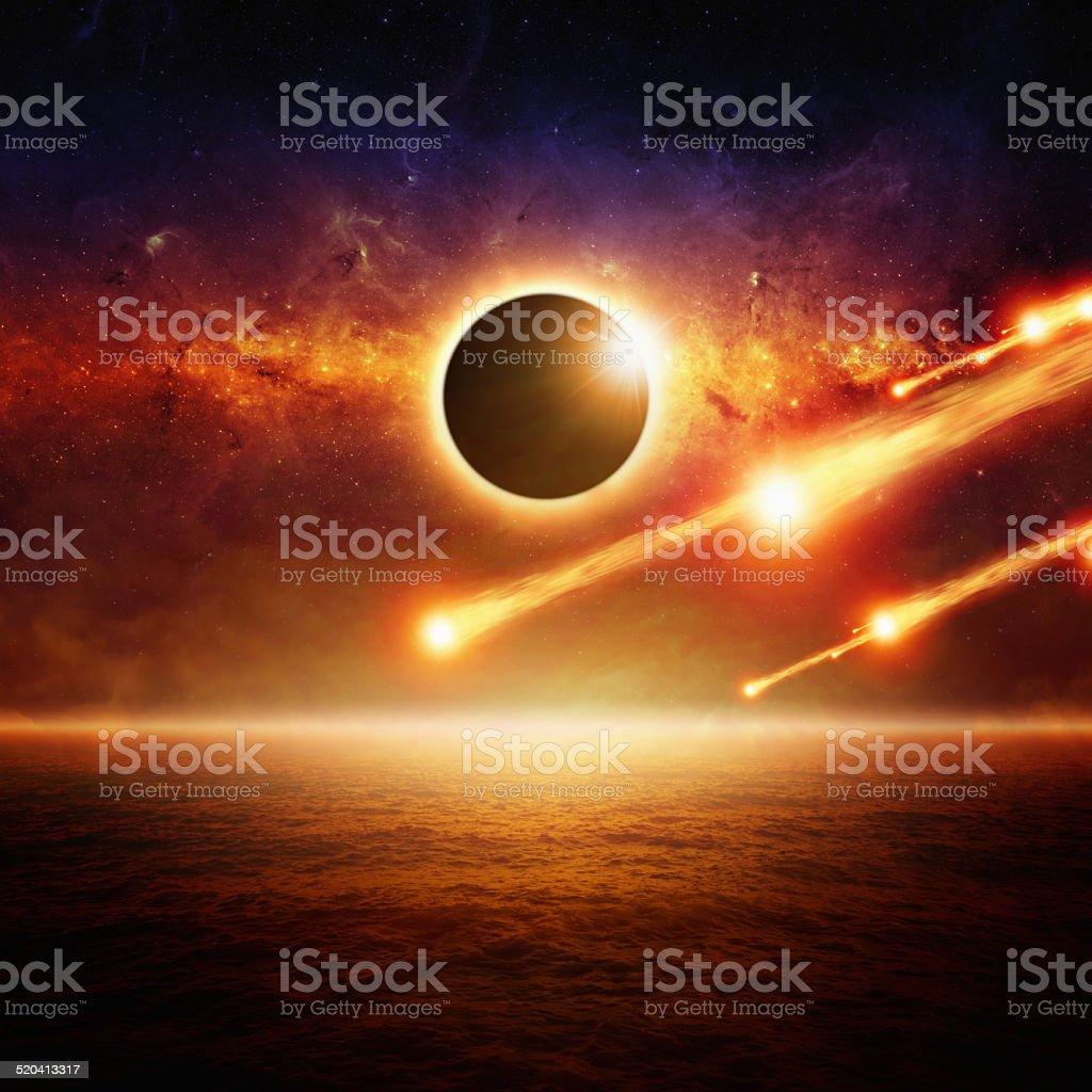 Full sun eclipce, asteroid impact stock photo