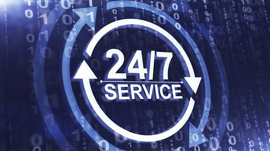 Full time service concept. 24/7 service