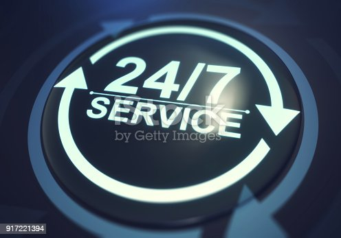 Full time service concept. 24/7 service