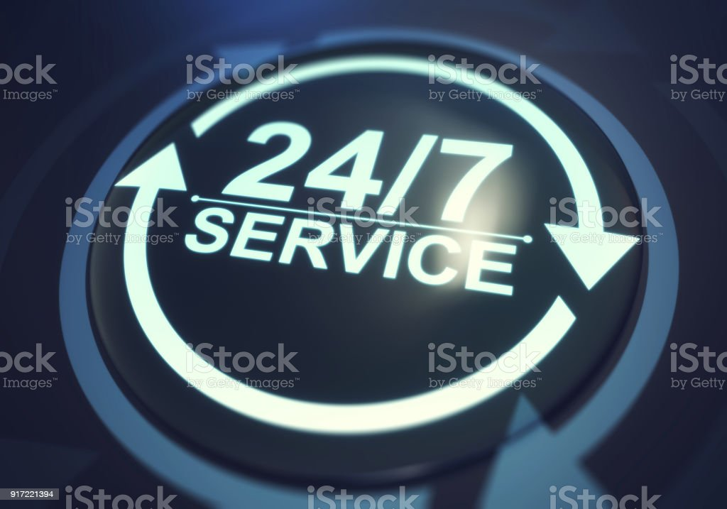 Full time service concept. 24/7 service stock photo
