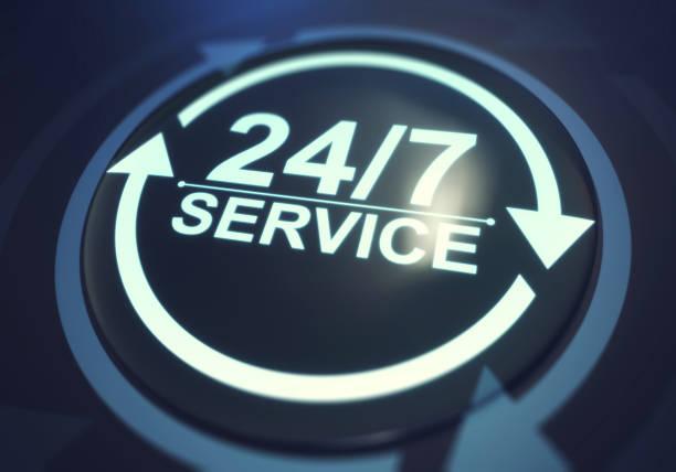 concept de service à temps plein. service 24/7 - nombre 24 photos et images de collection
