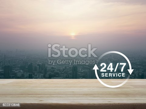 Full time service icon on wooden table over aerial view of cityscape at sunset, vintage style, Full time service concept