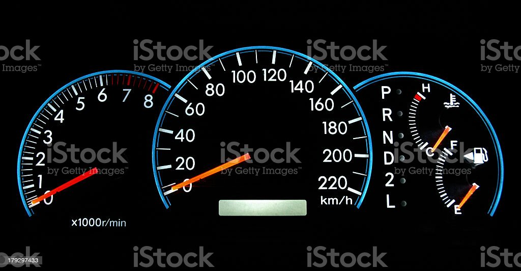 Full view of a Speedometer dashboard royalty-free stock photo